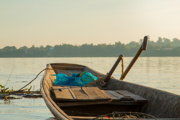 Wooden fishing boats on the Mekong River.