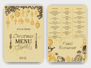Vector illustration sketch - Greeting cards and holiday design. Menu