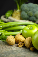 Green vegetables and fruits -  celery, apples, celery root celery celeriac