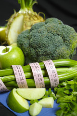 Green vegetables and fruits -  celeriac, broccoli, celery shoots