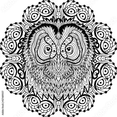 Spur Art Design Your Line : Quot coloring antistress page book line art design owl s