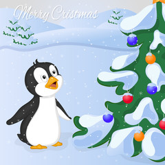 Funny and cute penguin saw Cristmas Tree at the first time. Merry Christmas and Happy New year card. Christmas card in cartoon style. Vector illustration.