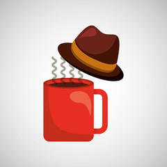 fathers day hat and coffee icon design vector illustration eps 10