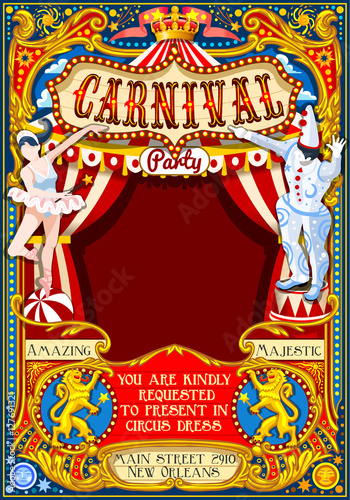Circus Juggler Show Retro Template Cartoon Poster Invite Kids Game Birthday Party Insight