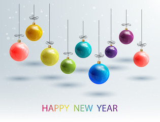 New Year Bckground with Set Colorful Christmas Balls. Vector Chr