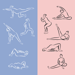 Pregnant Woman Exercise. Outline illustration with set of yoga poses in vector.