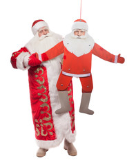 Santa Claus doll with a twin on a white background