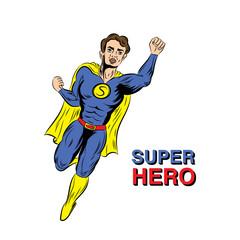 Flying superhero illustration in super costume with cloak.