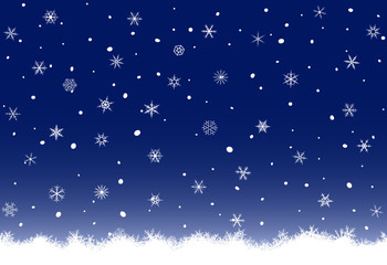 Abstract Christmas background from various snowflakes.