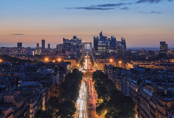 Sunset over Champs-Elysees and La Defense in Paris