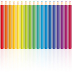 Crayons - rainbow colored set, upright standing in a row - seamless pattern can be created.