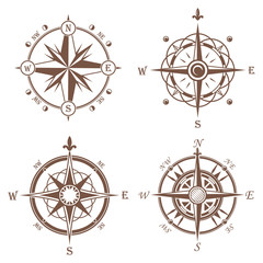 Isolated vintage or old compass rose icons