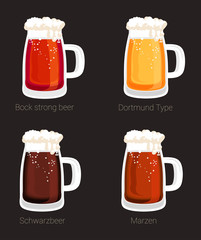 Beer mug or glass goblet, isolated icons