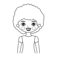 half body girl silhouette with curly hair vector illustration
