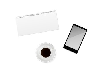 cup of coffee with blank calendar and phone