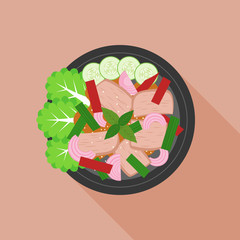 spicy and sour beef salad in thai style, thai cuisine, flat design vector