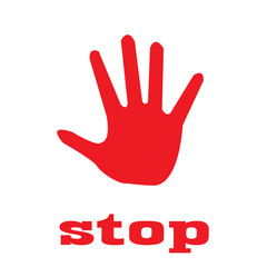 STOP! Red stop hand vector llustration