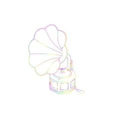 Gramophone.Isolated on white background. Sketch illustration.