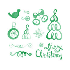Watercolor Christmas set. Vintage objects collection for holiday design