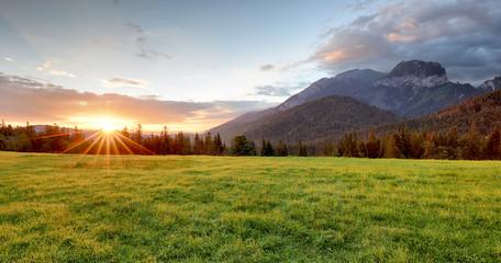 Fototapete - Sunrise in mountains landscape, Slovakia, Tatranska Javorina