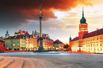 Warsaw city at sunrise, Poland