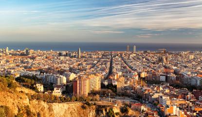Barcelona panorama at sunset
