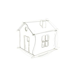 House icon. Isolated on white background. Sketch illustration.