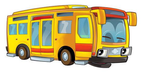 Cartoon happy and funny cartoon bus - illustration for children
