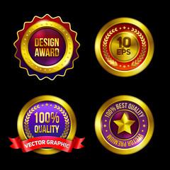 Golden premium badges set. Eps10 vector.