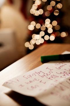 Handwritten letter to santa