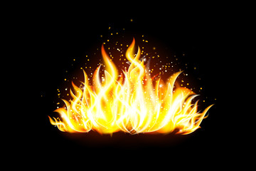 Transparent vector fire flame on dark background