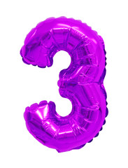 number 3 (three) from balloons purple, violet