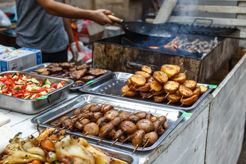 catering food buffet, salad, grilled mushrooms and potato