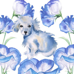 White puppy. isolated. Postcard greetings. watercolor illustration.