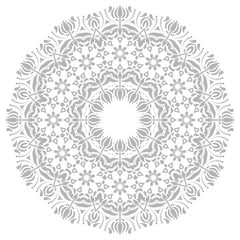 Oriental round pattern with arabesques and floral elements. Traditional classic ornament. Light silver and white pattern