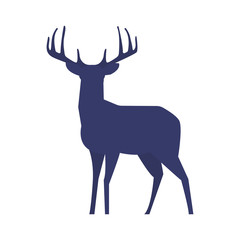 Standing deer silhouette on white background. Vector illustration