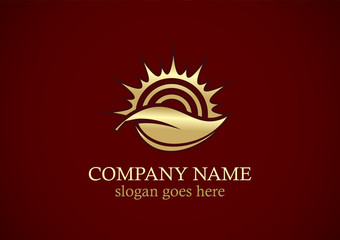 gold leaf sun nature logo