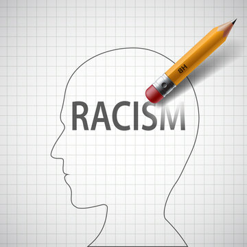 Pencil erases in the human head the word racism. Philanthropy an