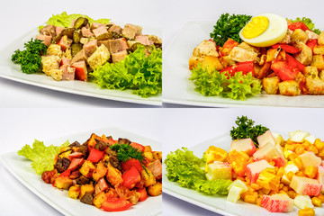 four salads for christmas table