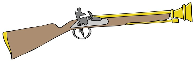 Illustration of a Blunderbuss black powder rifle.