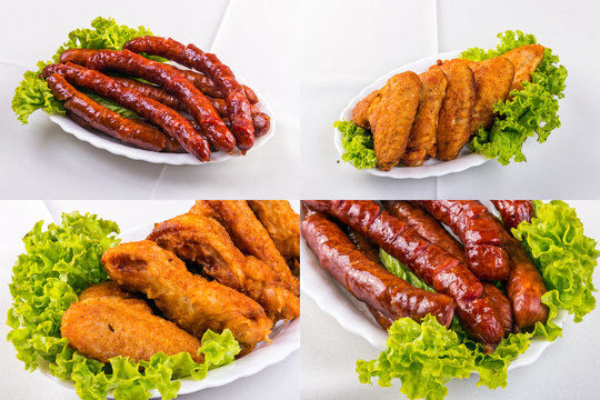 fried sausage and chicken wings