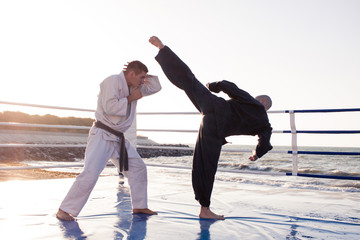 training of Two professional male karate fighters