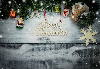 Christmas idea on white wooden background, copy space