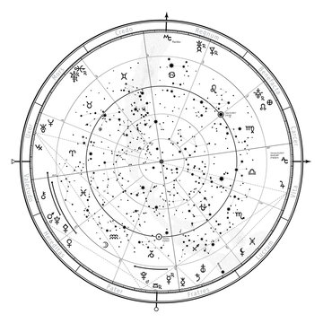 Astrological Celestial map of Northern Hemisphere. Horoscope on January 1, 2017 (00:00 GMT). Detailed chart with symbols and signs of Zodiac, planets, asteroids & etc.
