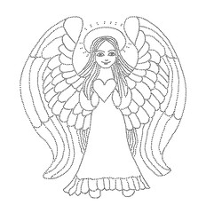 Vector illustration of angel with heart black and white
