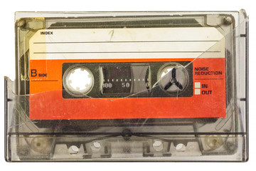 Vintage audio compact cassette isolated on white