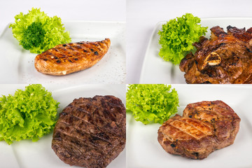 steak of different meat type image set