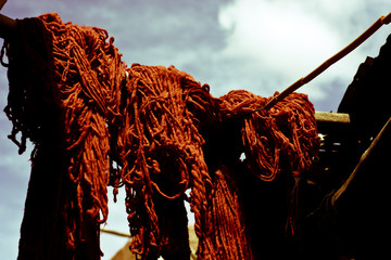 colored wool to dry