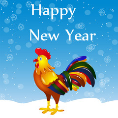 Cock vector illustration. Happy New Year! Bright colorful rooster on a background of snow and snowflakes. Cartoon