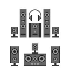 audio speakers and headphones on white background